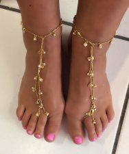 Swarovski pearls shell Silver , Gold gep barefoot anklet Chain