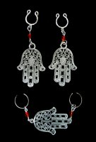 Hamsa Hand Intimate Nipple and Clit Jewelry Set Silver sp Sexy